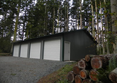R. Four-car garage with side door.